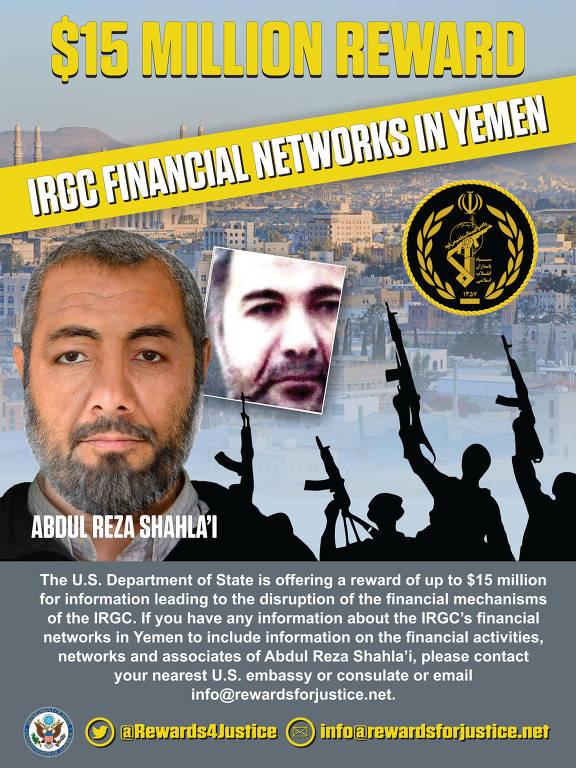Cartaz do departamento de Estado oferecendo recompensa por Abdul Reza Shahlai