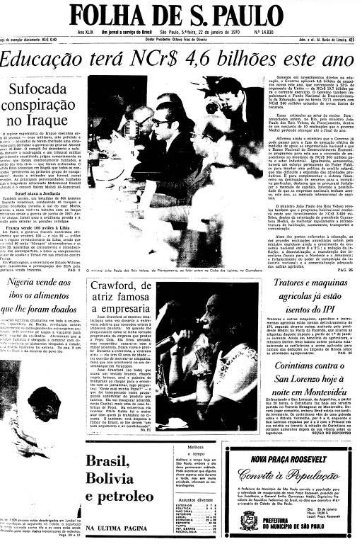 Primeira Página da Folha de 22 de janeiro de 1970