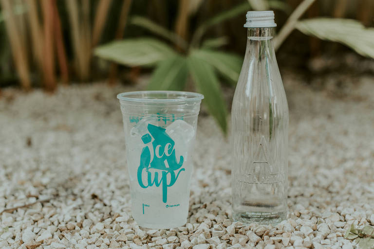 copo com gelo e garrafa d'água em chão de cascalho com plantas ao fundo
