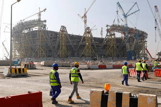A general view shows the Education city stadium built for the upcoming 2022 Fifa soccer World Cup during a stadium tour in Doha