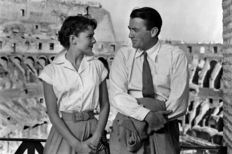 """Cena do filme """"A Princesa e o Plebeu"""", com Audrey Hepburn e Gregory Peck"""