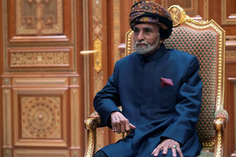 O sultão de Omã, Qaboos bin Said, no Palácio Real de Mascate