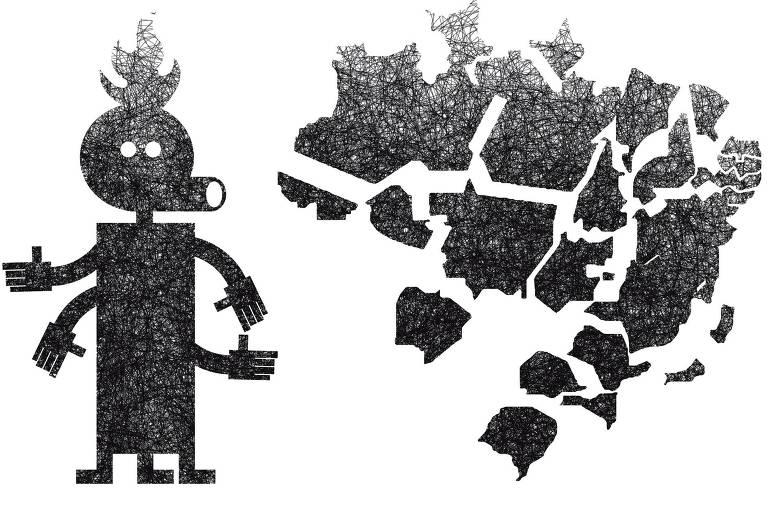 Ilustração Marcos Lorente  publicada na Folha em 12 de janeiro de 2020. Traz um boneco de forma geométrica, têm quatro mãos e três pernas, a direita o mapa do Brasil  desmontado.