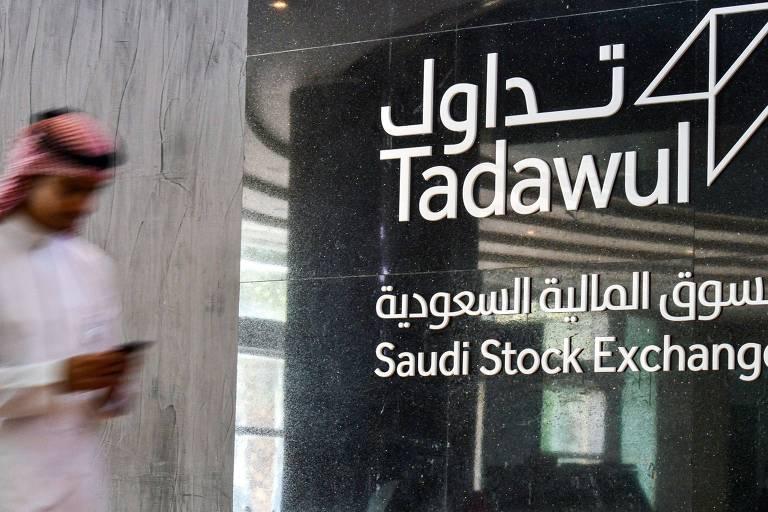 Logo do mercado de ações da Arábia Saudita, na capital de Ríade