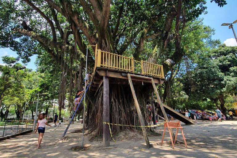 Brinquedo montado em árvore no parque Celso Daniel, em Santo André, está interditado