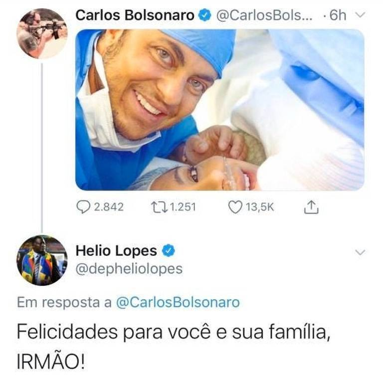 Carlos Bolsonaro ironiza nascimento do filho de Thammy no Twitter