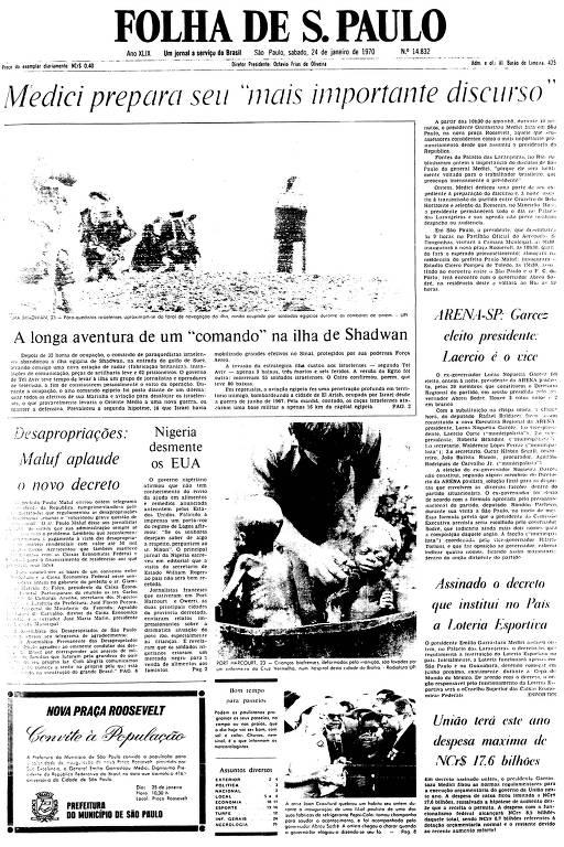 Primeira Página da Folha de 24 de janeiro de 1970