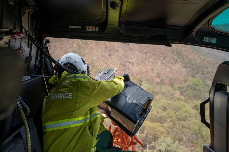 Austrália lança legumes de helicóptero para animais isolados por incêndios