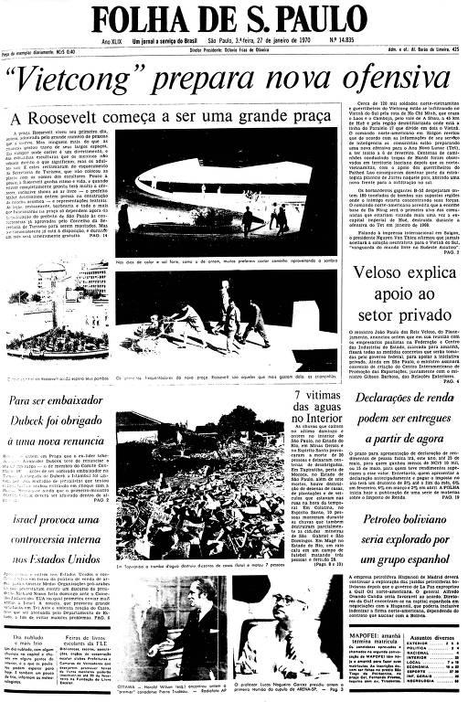 Primeira Página da Folha de 27 de janeiro de 1970