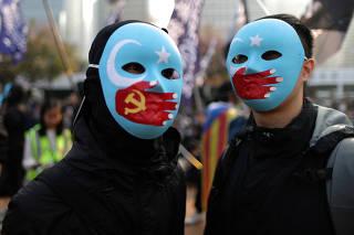 Hong Kong protesters rally in support of Xinjiang Uighurs' human rights in Hong Kong