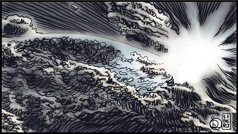 Ilustração de pedaço da Terra com vários riscos pretos sob o planeta e um clarão no fundo