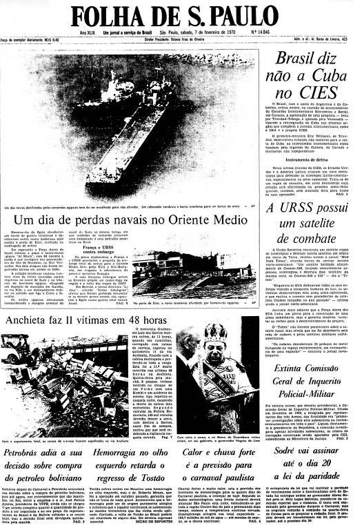 Primeira Página da Folha de 7 de fevereiro de 1970