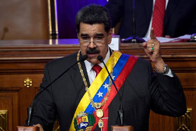 Nicolás Maduro durante seu discurso anual na Assembleia Constituinte, em Caracas
