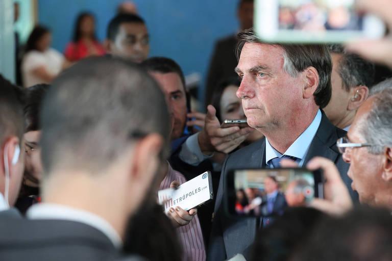 O presidente Jair Bolsonaro durante o anúncio de ajuste do salário mínimo de 2020, que passou de R$ 1.039 para R$ 1.045