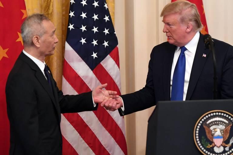 Vice-premiê chinês, Liu He, e o presidente dos Estados Unidos, Donald Trump