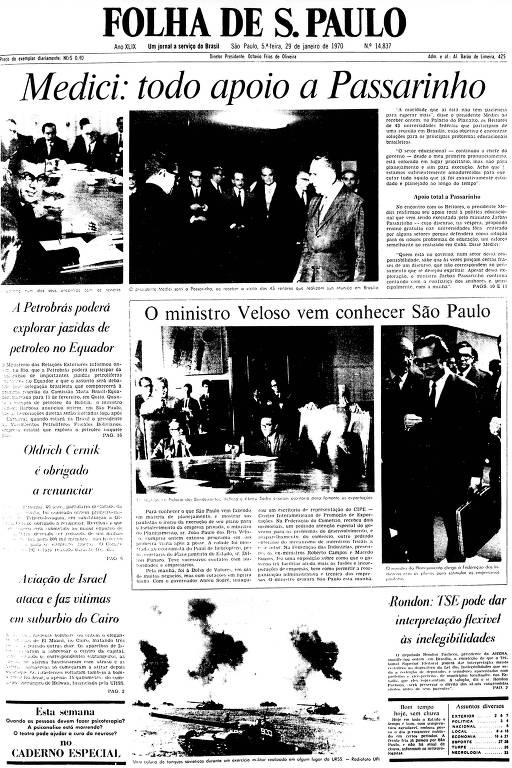 Primeira Página da Folha de 29 de janeiro de 1970
