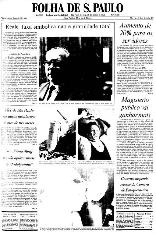 Primeira Página da Folha de 30 de janeiro de 1970