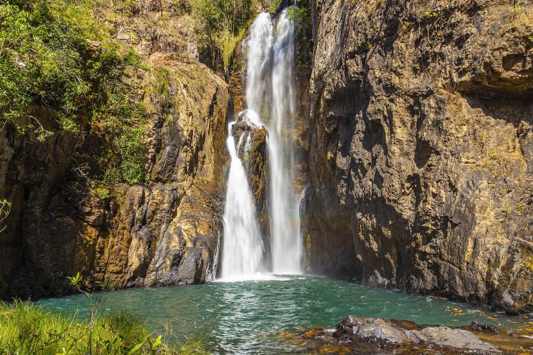 Cachoeira do Encontro, na Chapada dos Veadeiros, em Goiás