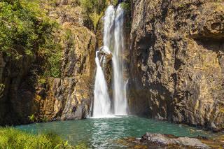A Cachoeira do Encontro, no complexo de Cachoeira do Macaquinho, em São João d'Aliança (GO)