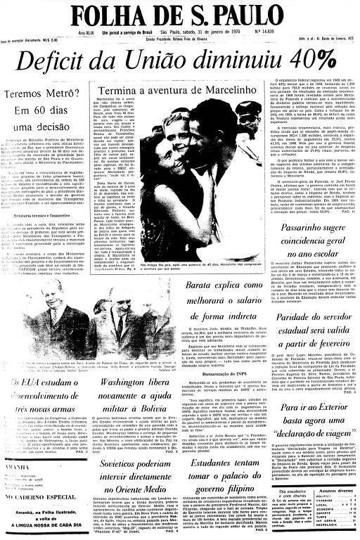 Primeira Página da Folha de 31 de janeiro de 1970