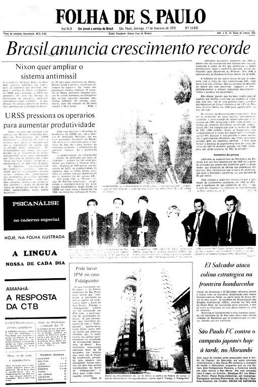 Primeira Página da Folha de 1° de fevereiro de 1970