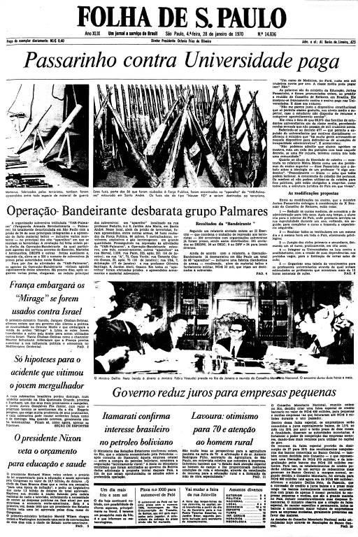 Primeira Página da Folha de 28 de janeiro de 1970