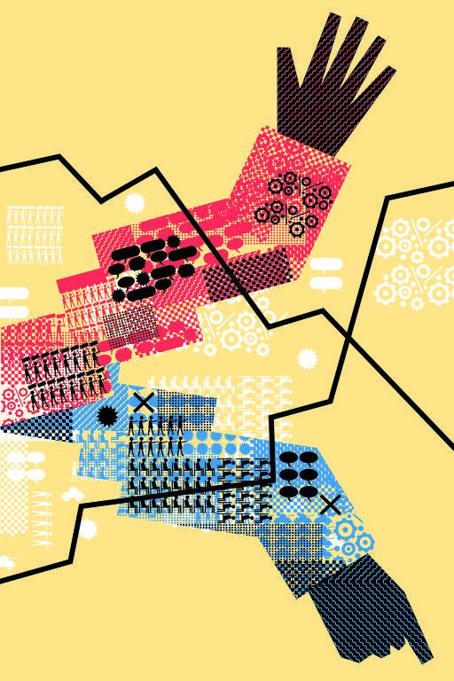 No desenho, dois braços, um vermelho e outro azul num fundo amarelo. Uma mão aponta para cima e a outra, para baixo.