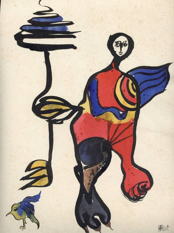 """Ilustração """"Mulher e criança com bandolim"""", feita por Hilda Hilst e exposta no MIS, em São Paulo"""