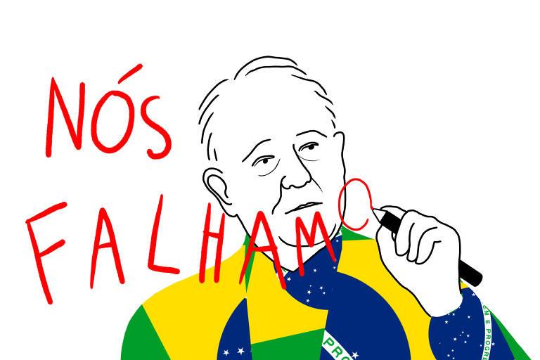 """Ilustração de homem com roupa feita da bandeira brasileira escrevendo em vermelho """"nós falhamos"""""""