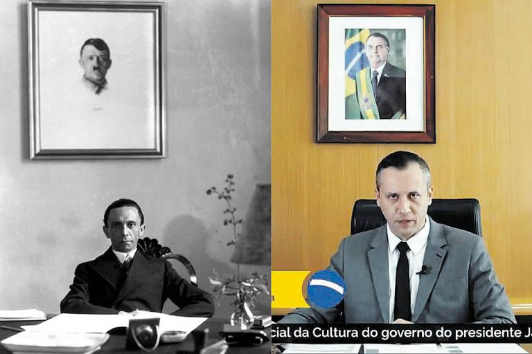 Montagem Goebbels e Roberto Alvim