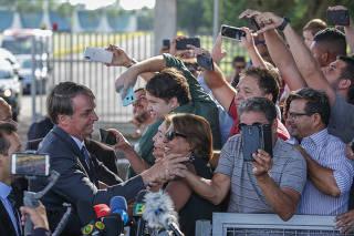 Apoiadores do presidente Bolsonaro no Palácio da Alvorada