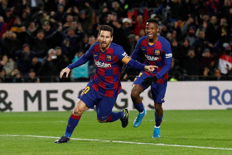 Messi comemora o gol que deu a vitória ao Barcelona sobre o Granada