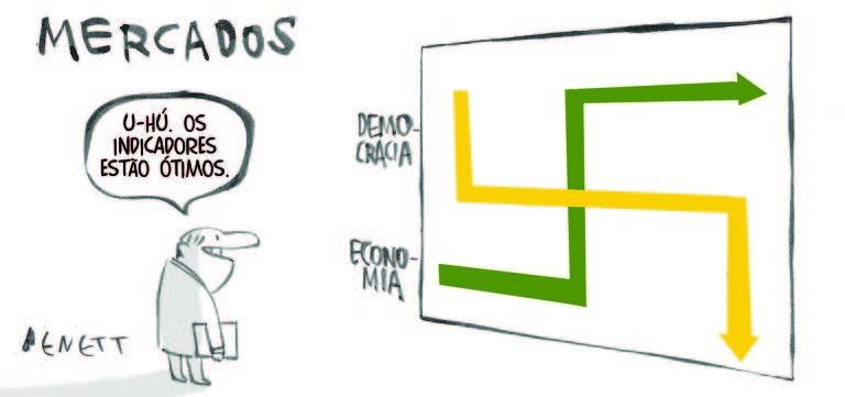 """A charge de Benett, com o título """"Mercados"""" escrito acima, mostra um homem que olha para um gráfico em uma tela. As curvas do gráfico são em cores verde e amarela e se cruzam formando uma suástica nazista. O eixo que vai decrescendo é o eixo da democracia; o eixo que vai crescendo é o eixo da economia. O homem que olha este gráfico tem uma pasta nos braços e diz: """"U-hú. Os indicadores estão ótimos""""."""