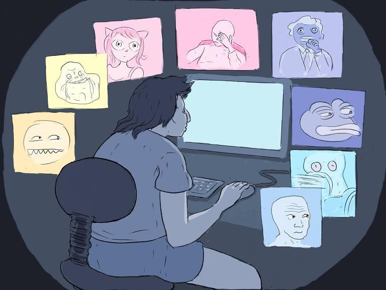 nerd olha vários tipos de meme
