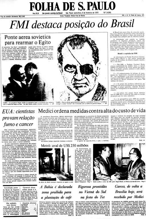 Primeira Página da Folha de 6 de fevereiro de 1970