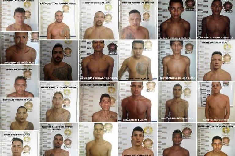 Retrato de 25 dos 26 presos que fugiram na madrugada desta segunda-feira (20) da penitenciária Francisco de Oliveira Conde, em Rio Branco