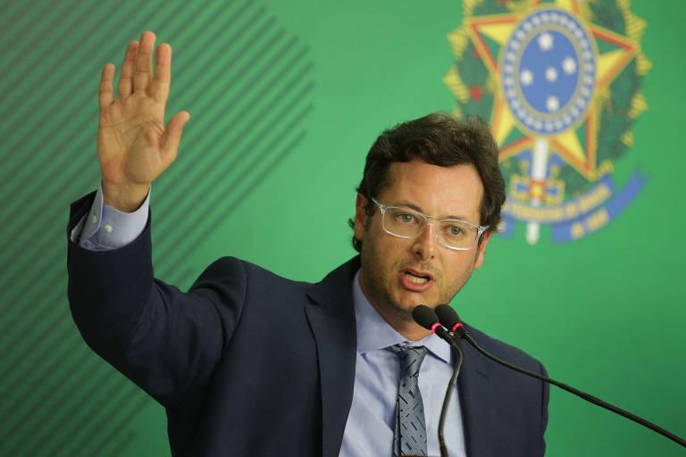 O chefe da Secom, Fabio Wajngarten, durante entrevista coletiva no Palácio do Planalto
