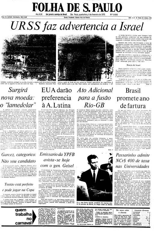 Primeira Página da Folha de 4 de fevereiro de 1970