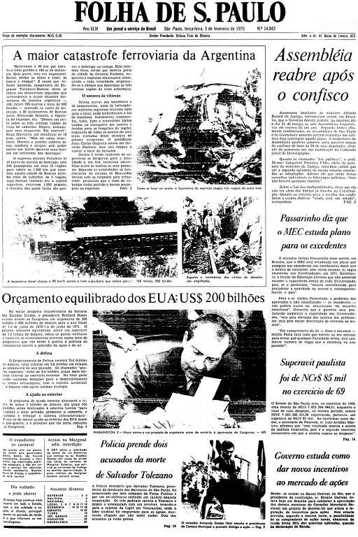 Primeira Página da Folha de 3 de fevereiro de 1970