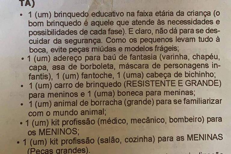Lista com kit para meninas e meninos do Instituto Dom Barreto, de Teresina (PI), colégio de maior nota no ranking do Enem