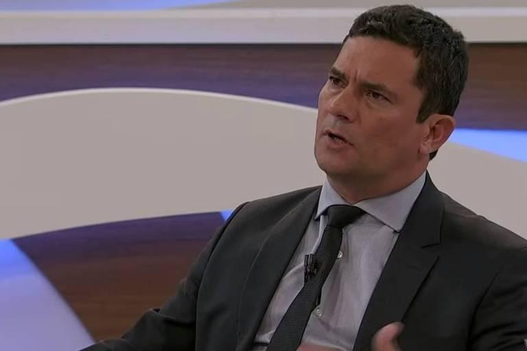 O ministro da Justiça, Sergio Moro, durante entrevista no Roda Viva