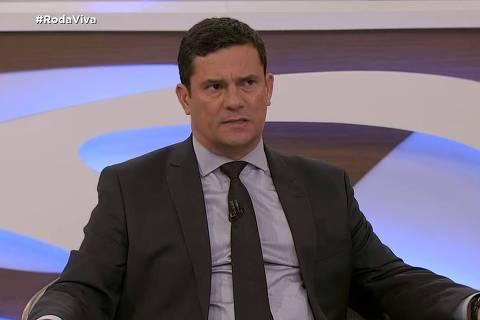 O ministro da Justiça, Sergio Moro, durante entrevista ao programa Roda Viva
