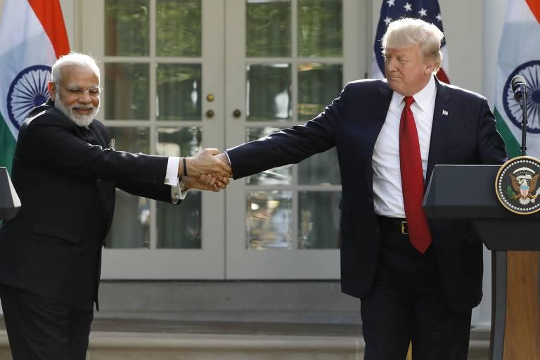 Narendra Modi e Donald Trump se encontram na Casa Branca, em Washington, em junho de 2017