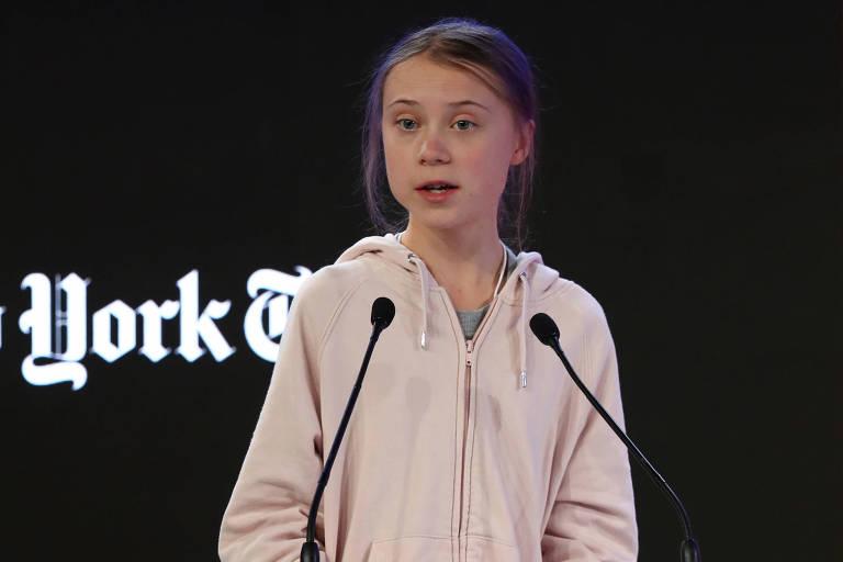 Recebida como estrela, Greta exorta líderes globais a 'ouvirem a ciência'