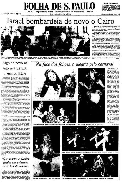 Primeira Página da Folha de 9 de fevereiro de 1970