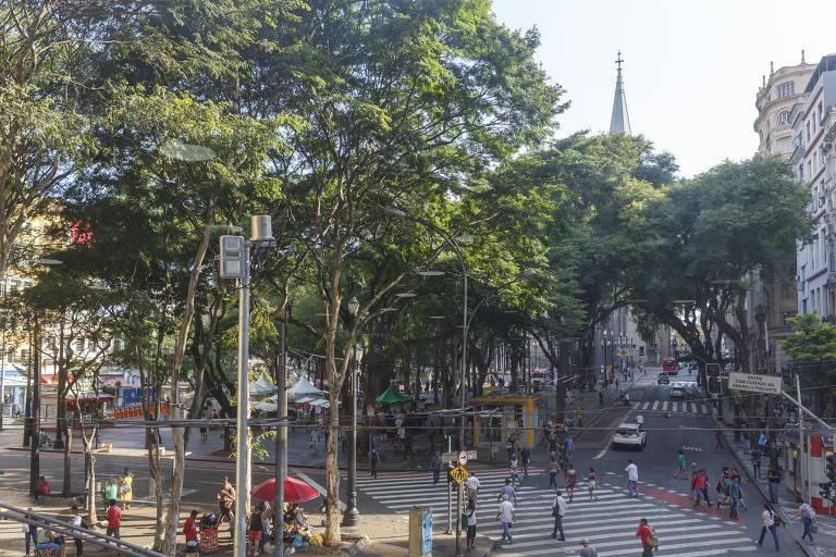Praça da Sé atualmente, repleta de árvores