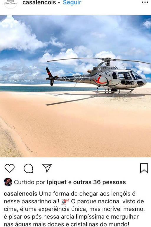 Perfis associados ao piloto Nelsinho Piquet sugerem infrações no Parque Nacional Lençóis Maranhenses