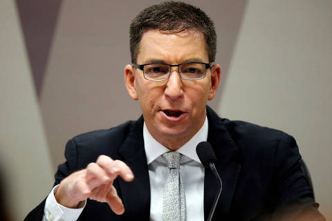 FILE PHOTO: Author and journalist Glenn Greenwald speaks during a meeting at Commission of Constitution and Justice in the Brazilian Federal Senate in Brasilia, Brazil July 11, 2019. REUTERS/Adriano Machado/File Photo ORG XMIT: FW1