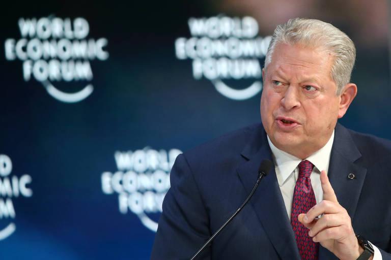 Al Gore durante sessão do Fórum Econômico Mundial, em Davos