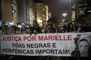 Ato em homenagem a Marielle Franco em São Paulo